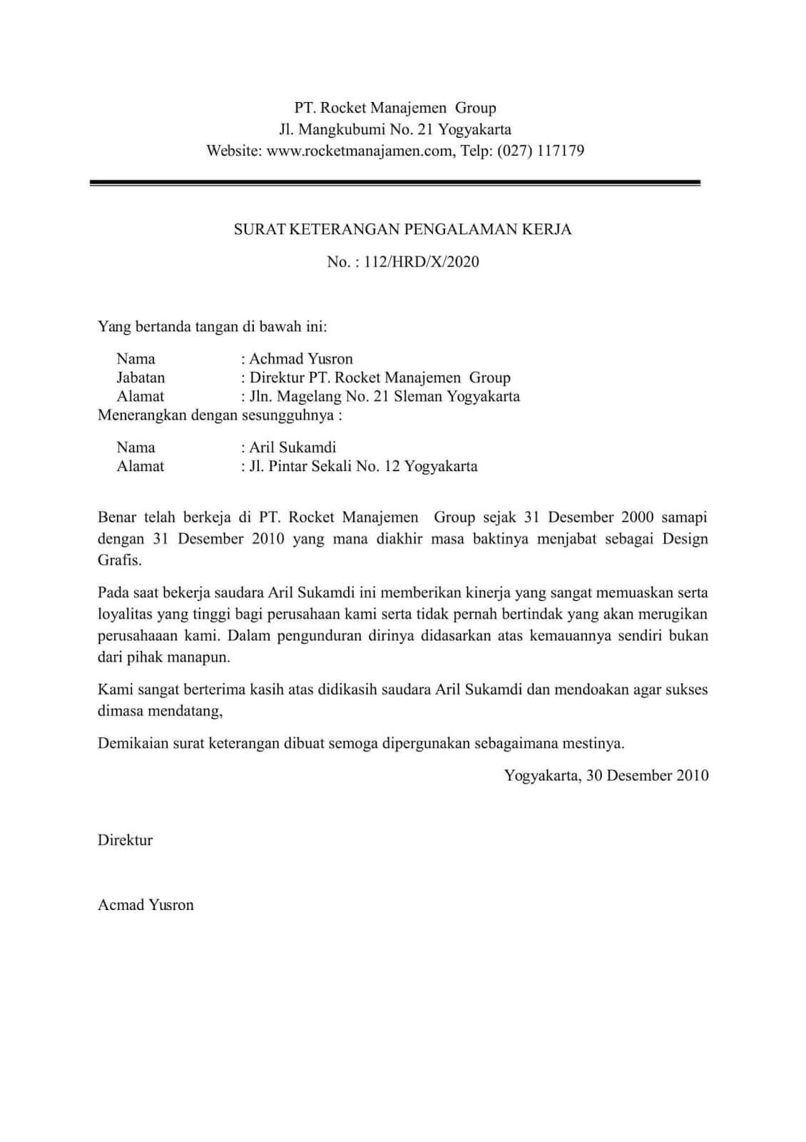 8+ Contoh Surat Keterangan Kerja terlengkap untuk berbagai ...