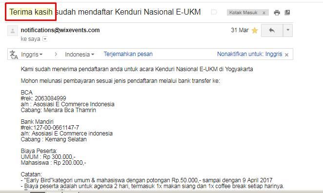 ucapan terima kasih melalui email