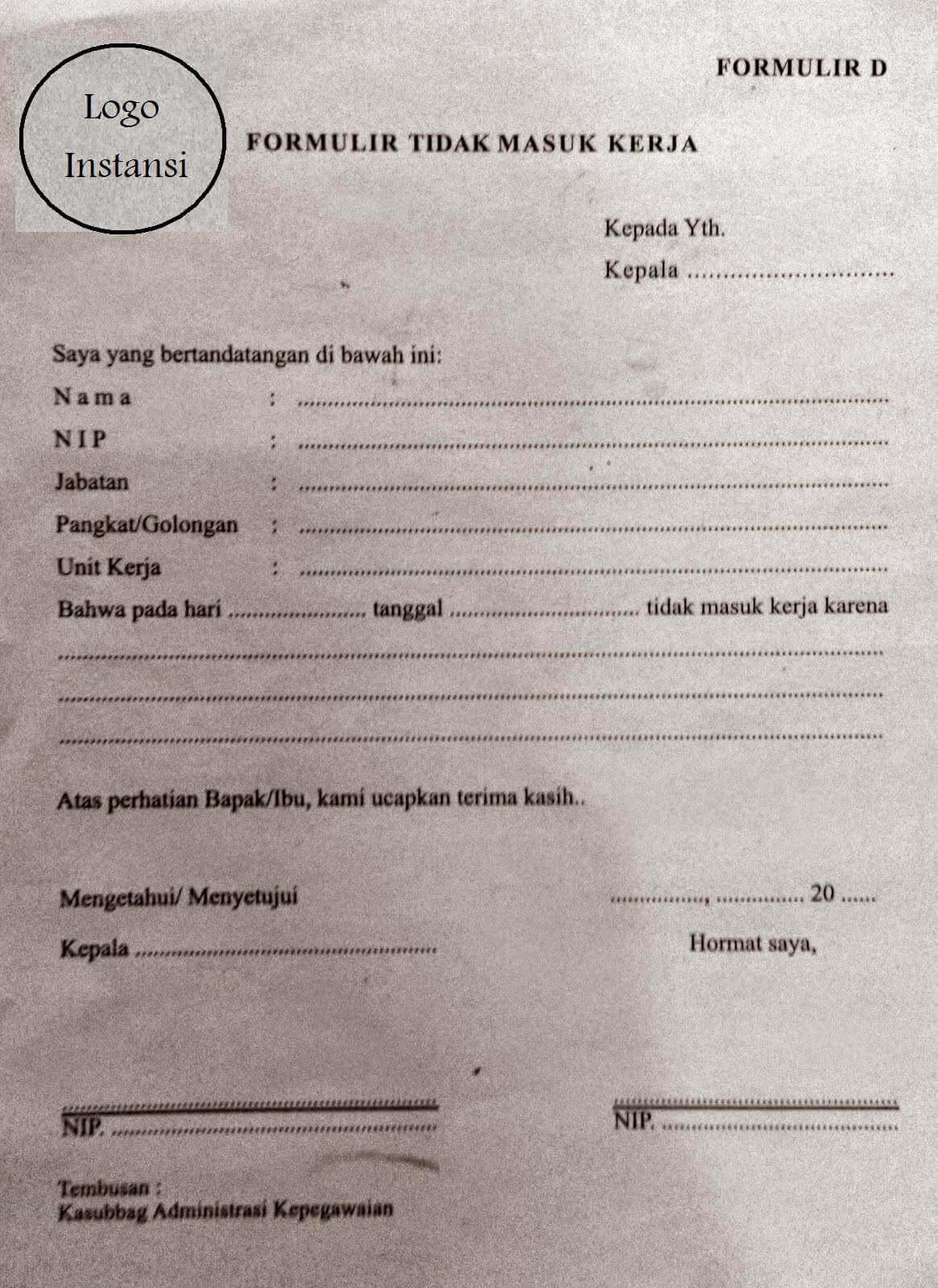 Contoh Surat Izin Tidak Masuk Kerja PNS