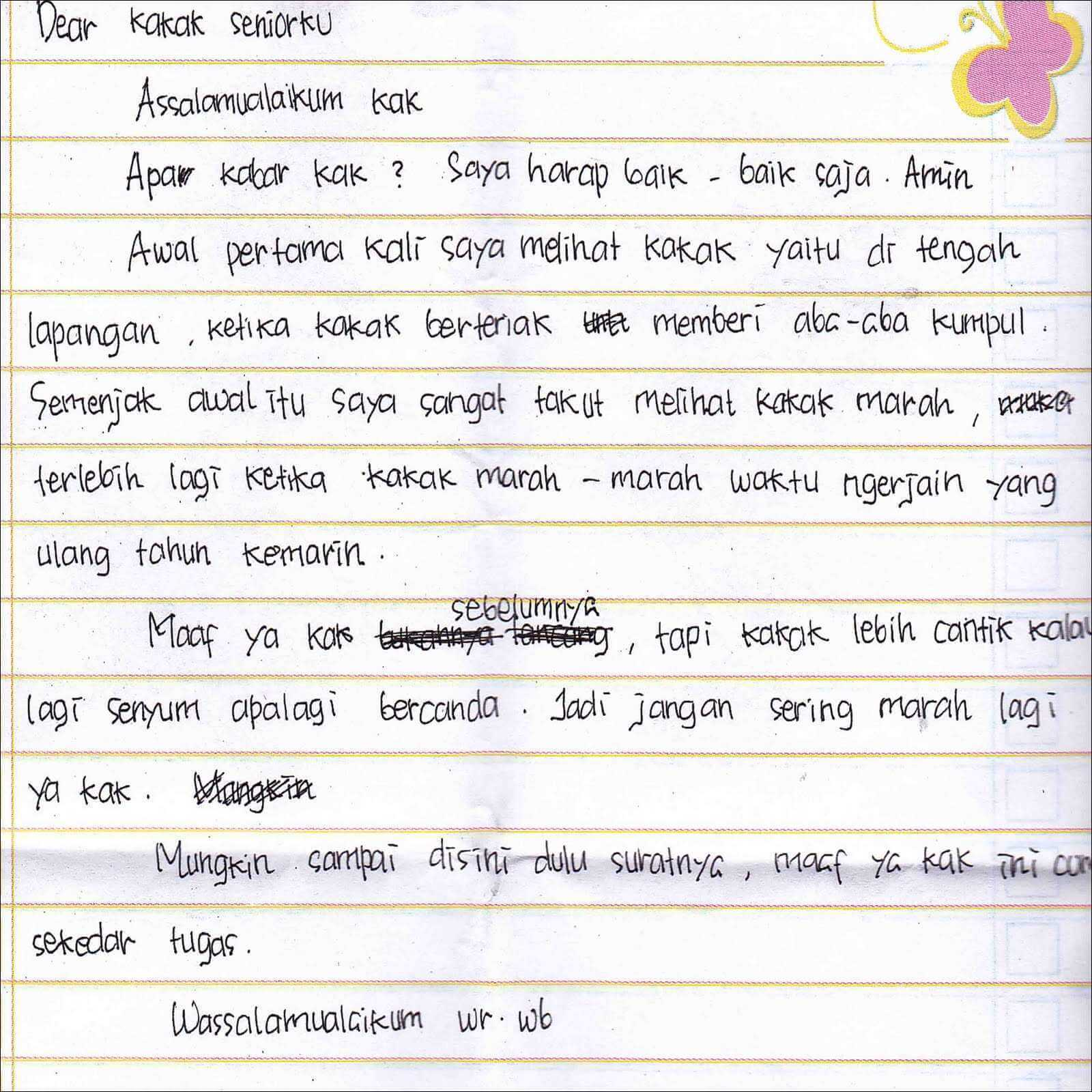 contoh surat untuk kakak kelas
