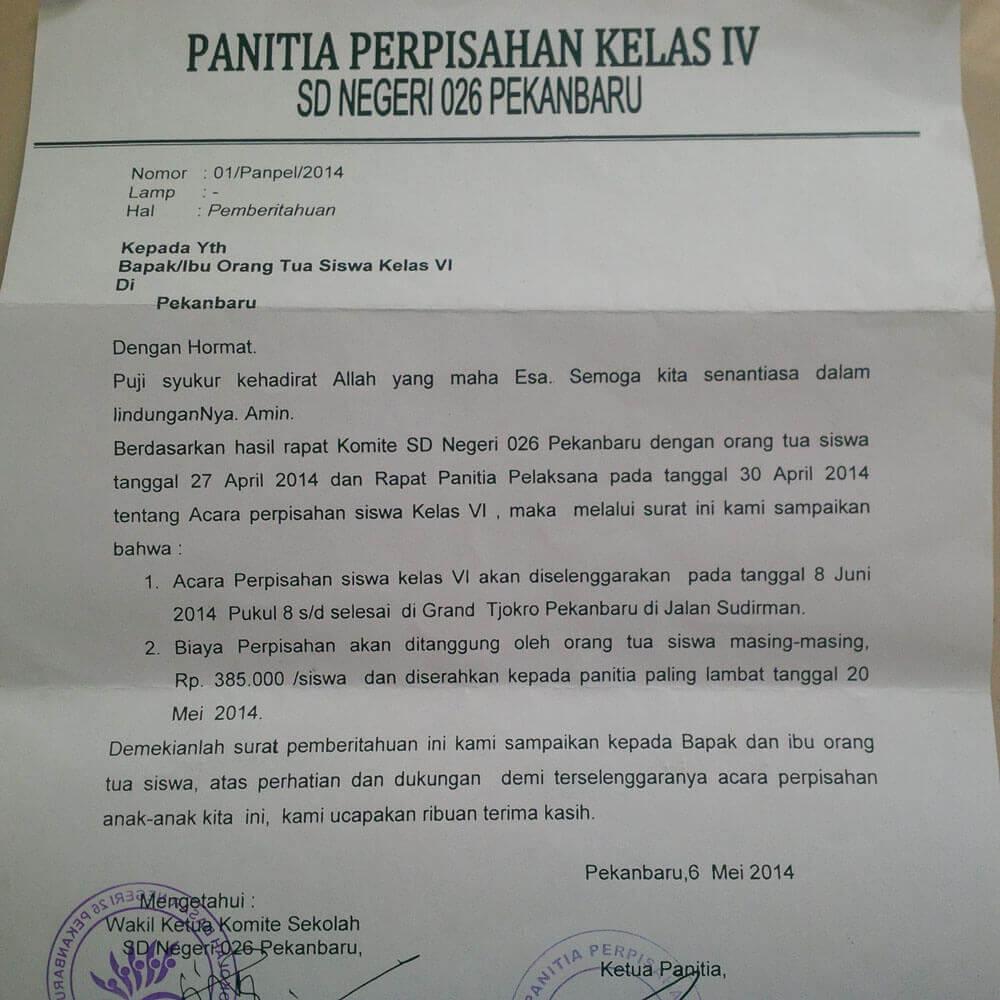 contoh suratedaran perpisahan sekolah