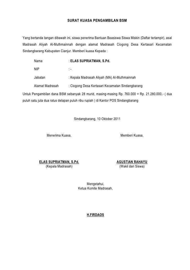 contoh surat kuasa pengambilan uang doc