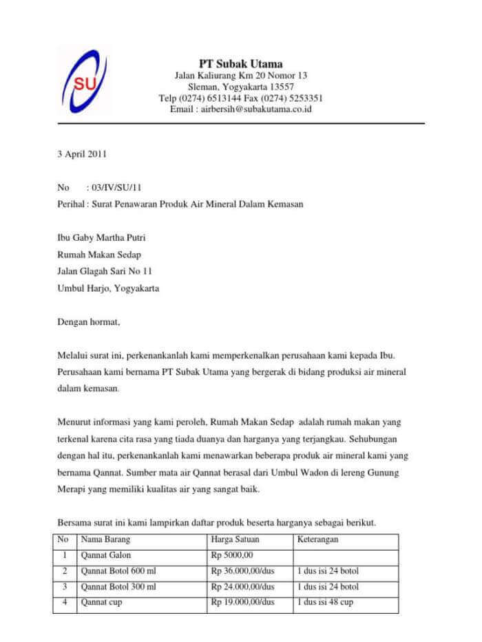 contoh surat penawaranproduk makanan