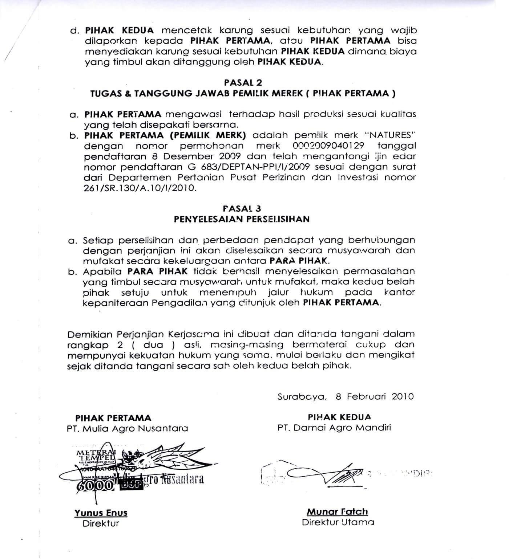 contoh surat perjanjian diatas materai