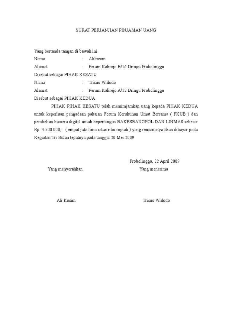30 Contoh Surat Perjanjian Yang Baik Dan Benar 2020 Contoh Surat