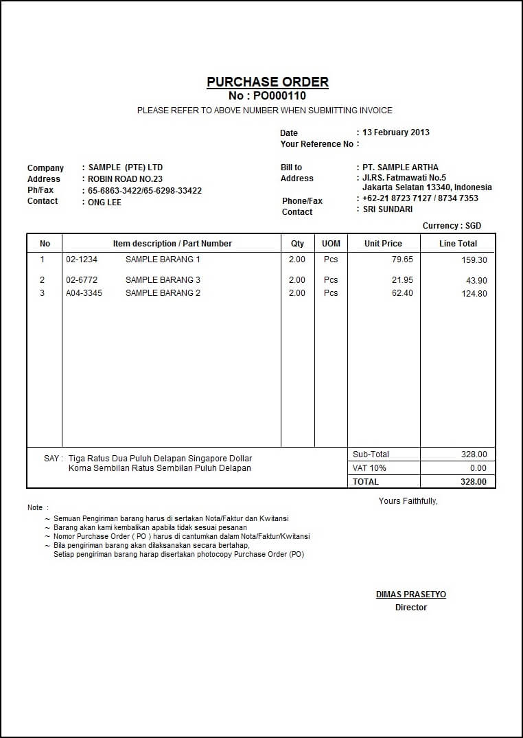 contoh purchase order / contoh po