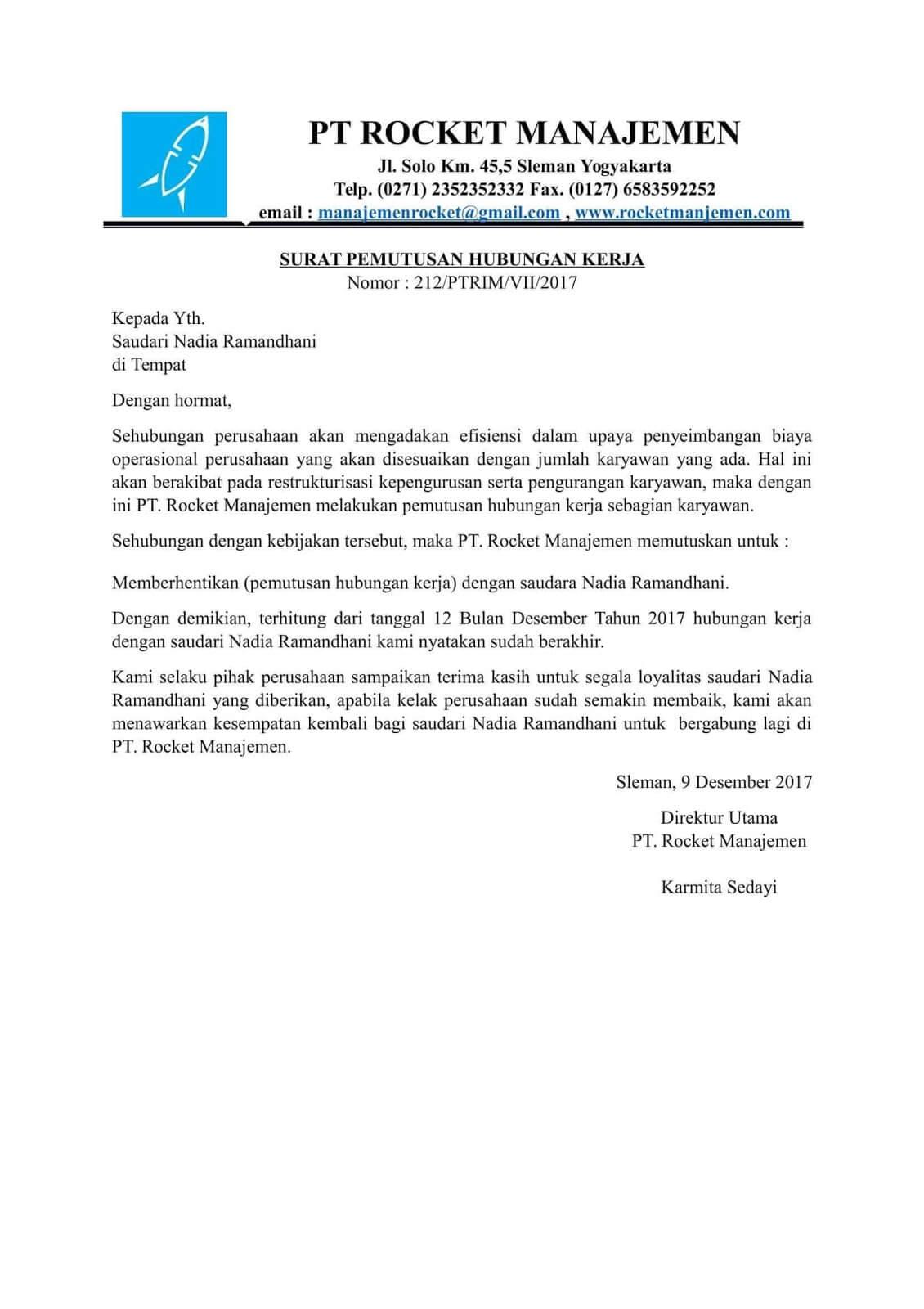 contoh surat phk karena perusahaan pailit
