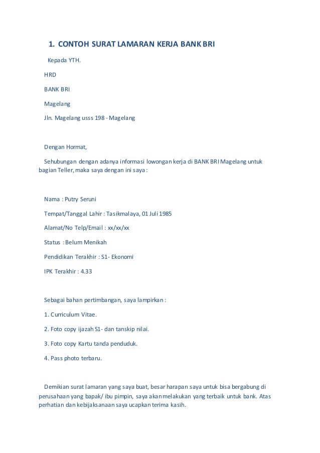 Contoh Surat Lamaran Kerja Di Bank Tulis Tangan