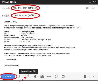 Contoh Body Email Lamaran Kerja Via Email