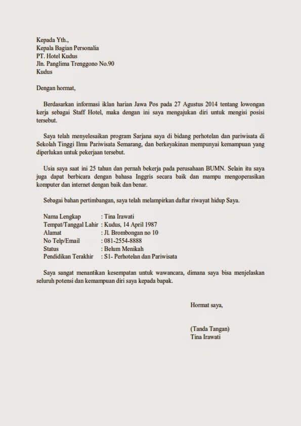 Contoh Surat Lamaran Kerja Di Hotel Contoh Surat