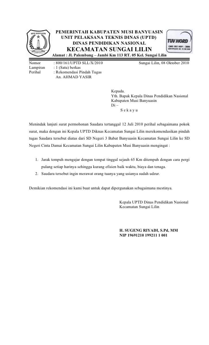 Contoh Surat Permohonan Rekomendasi Camat