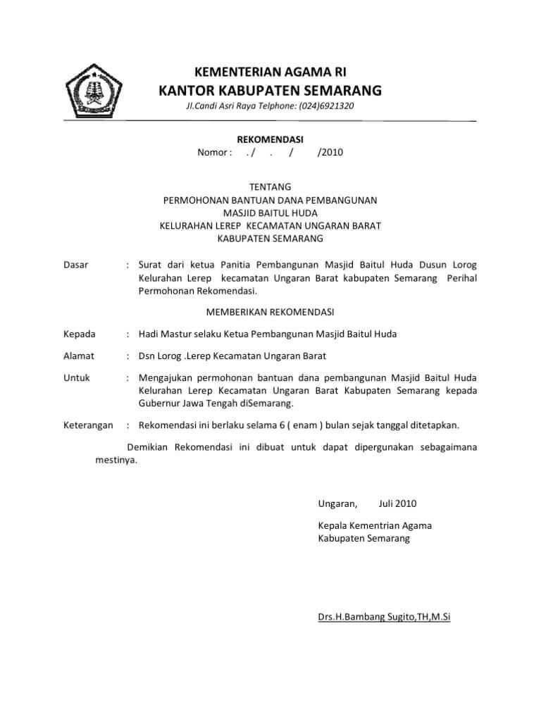 Contoh Surat Permohonan Rekomendasi Proposal