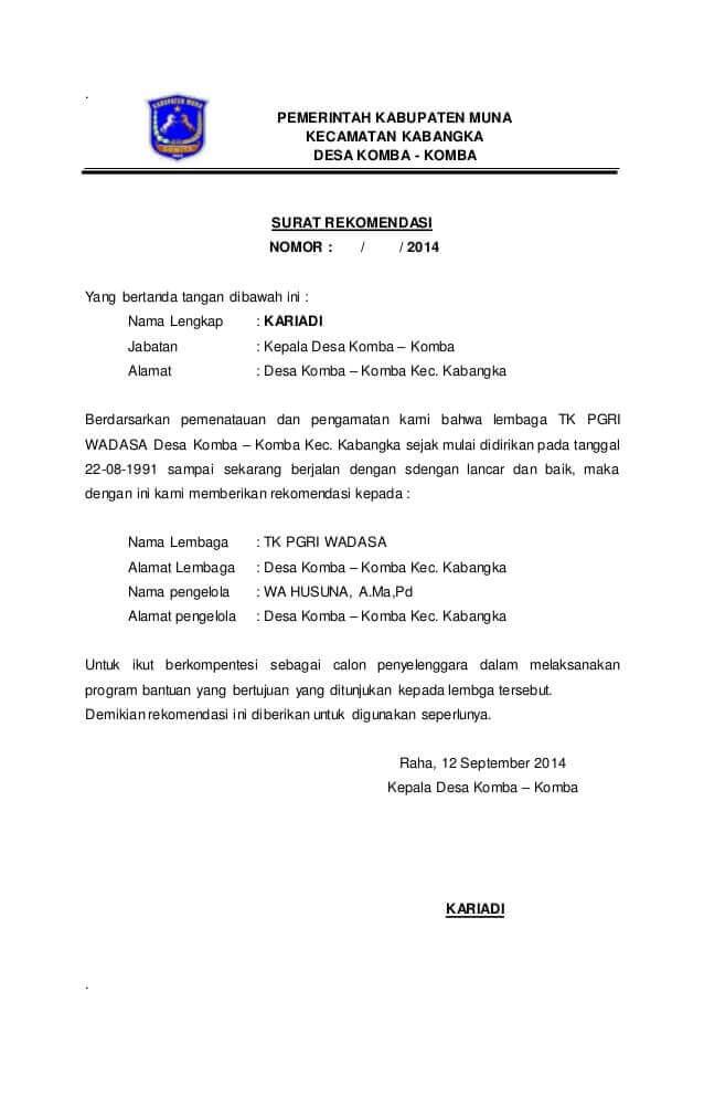Contoh Surat Rekomendasi Kepala Desa