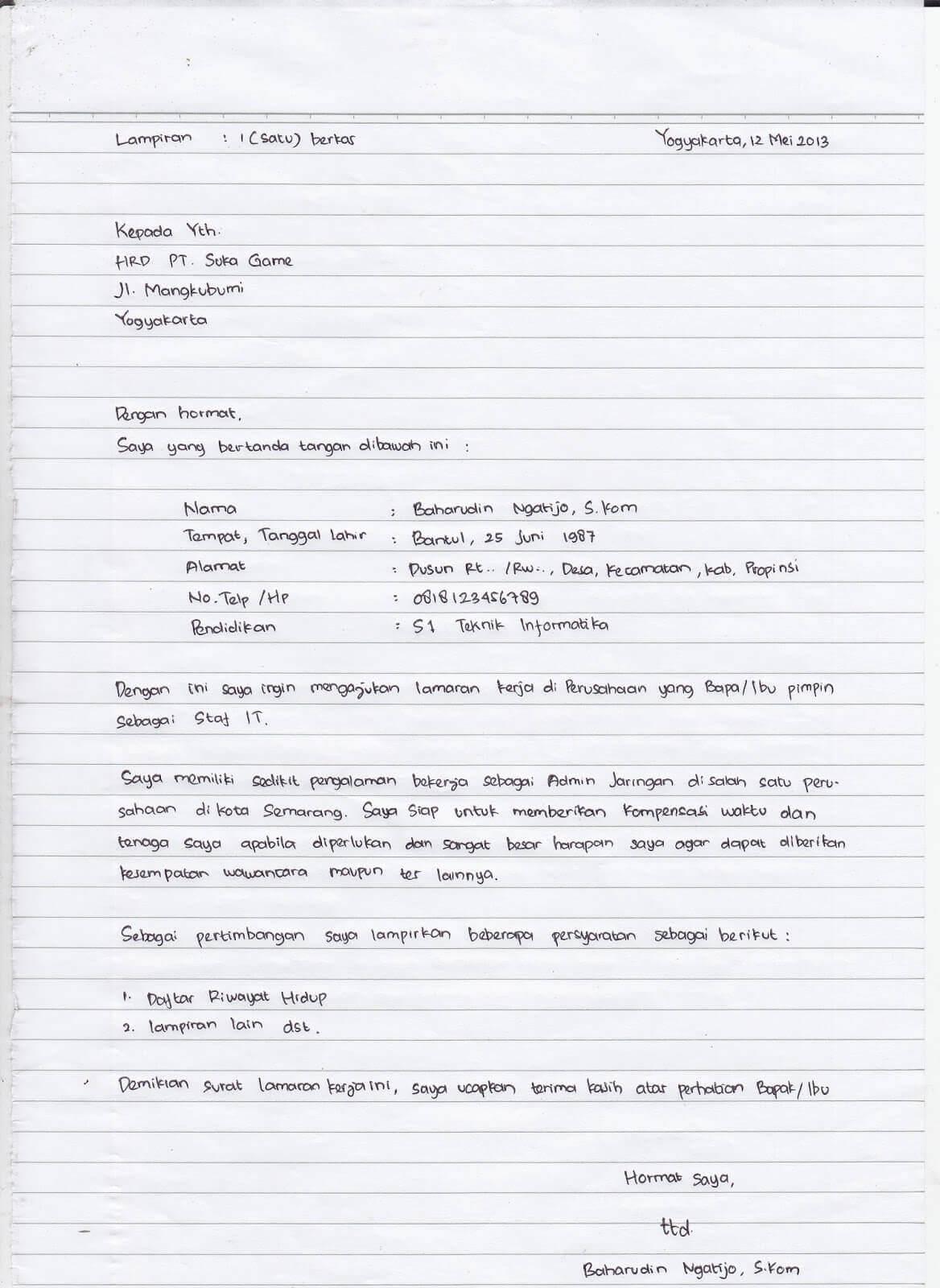 7 Contoh Surat Lamaran Kerja Tulis Tangan Terlengkap