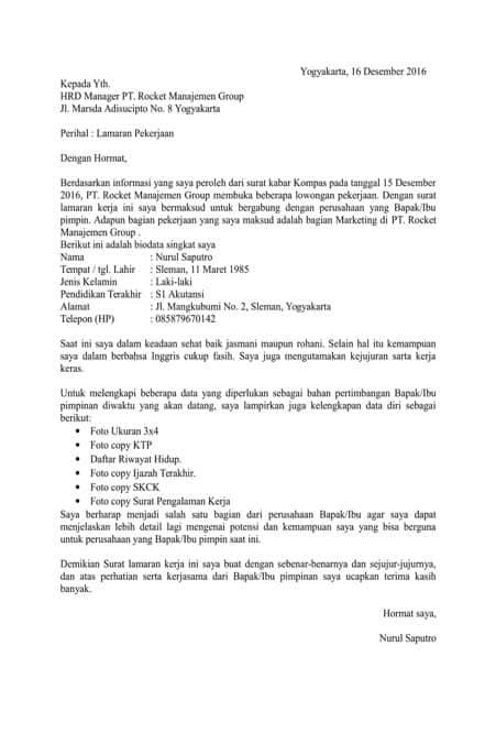 7 Contoh Surat Lamaran Kerja Pabrik Paling Lengkap Contoh Surat