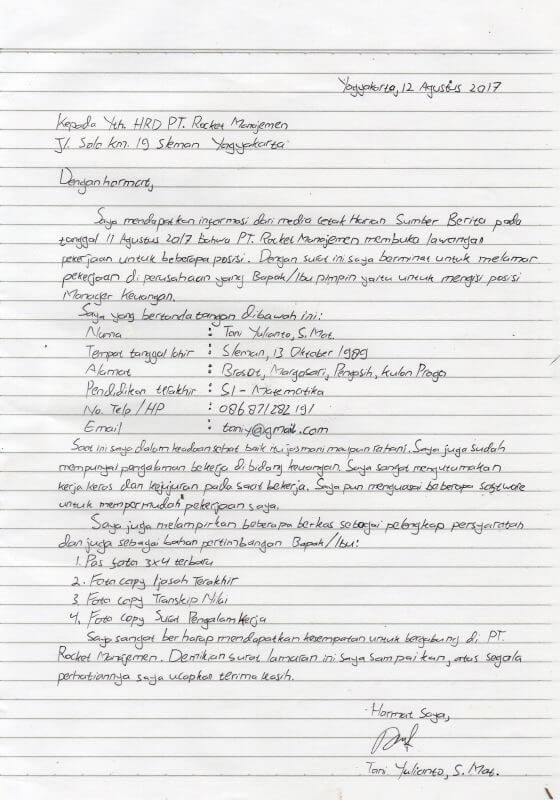 Contoh Lamaran Kerja Kertas Folio