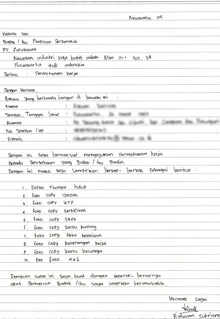 7+ Contoh Surat Lamaran Kerja Tulis Tangan Terlengkap