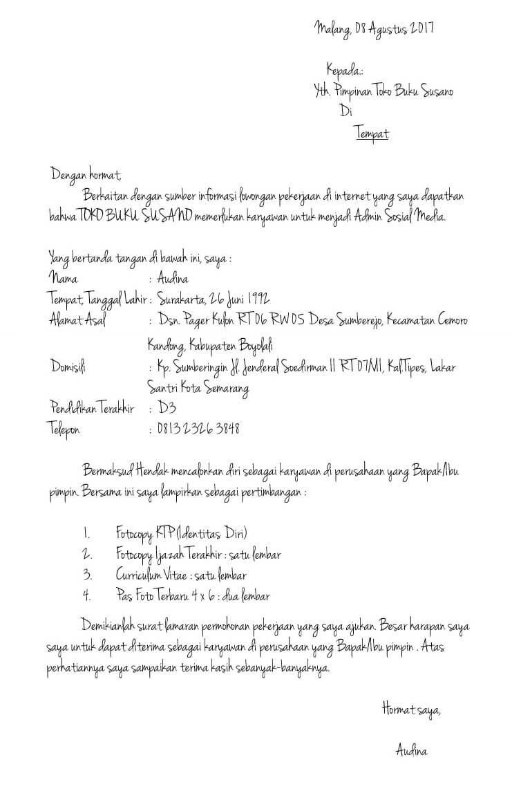Contoh Surat Lamaran Kerja Tulis Tangan Sederhana