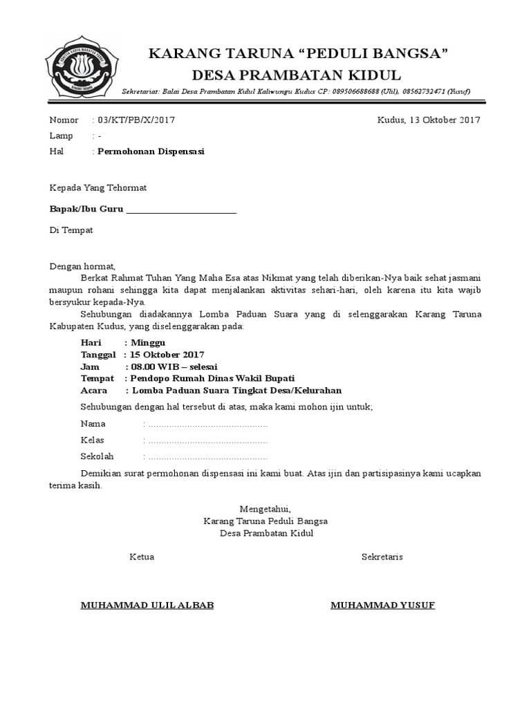 Contoh Surat Dispensasi Sekolah Untuk Mengikuti Acara Contoh Surat