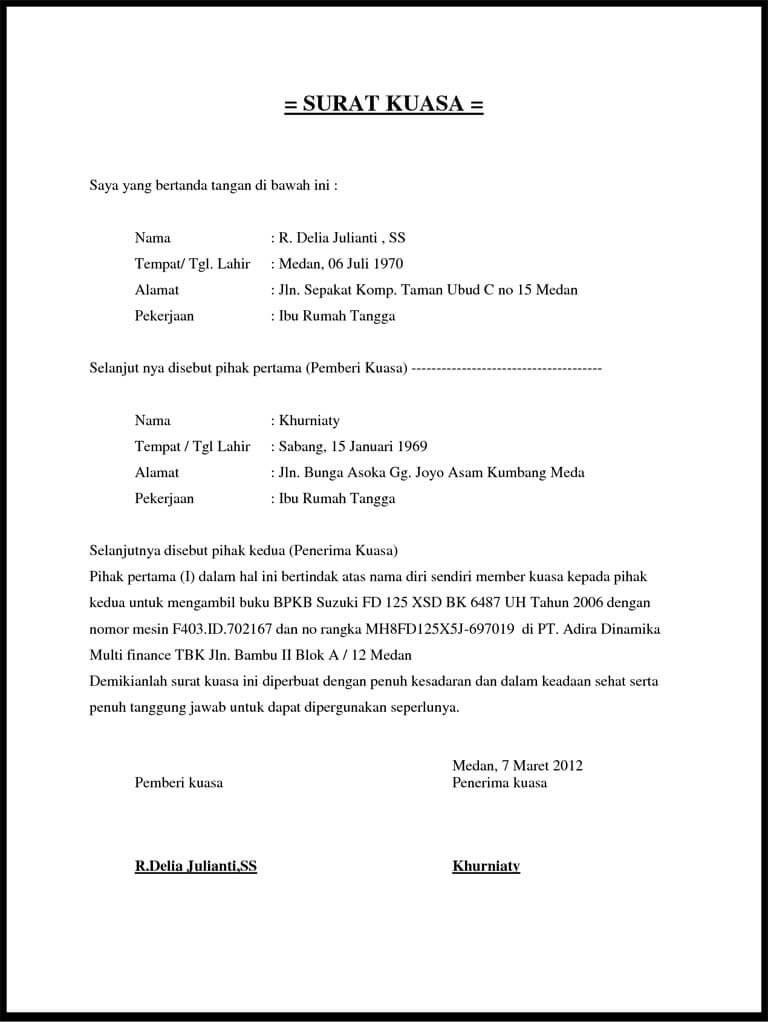 contoh surat kuasa perseorangan pengambilan bpkb