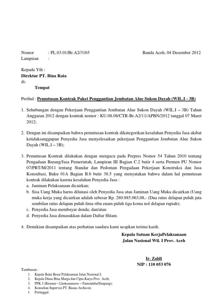 contoh surat pemutusan kontrak kerja kontraktor