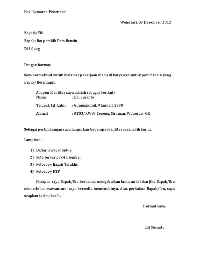 Contoh Surat Lamaran Kerja Di Spbu Pertamina Contoh Surat
