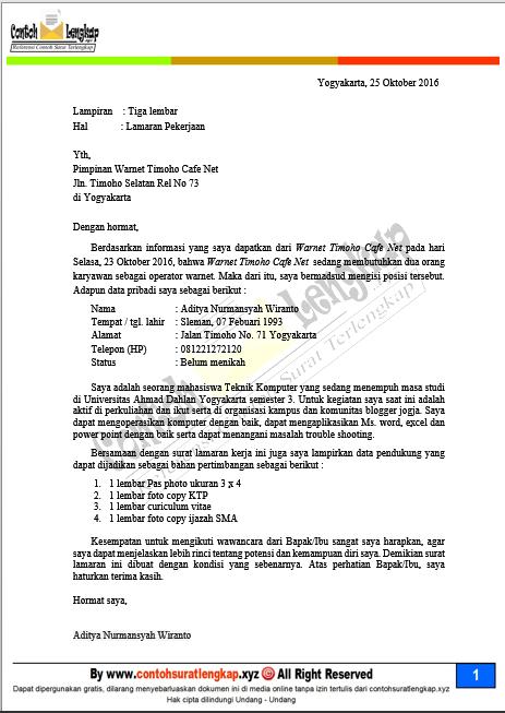 Contoh Surat Lamaran Kerja Di Warnet Game Center Contoh Surat