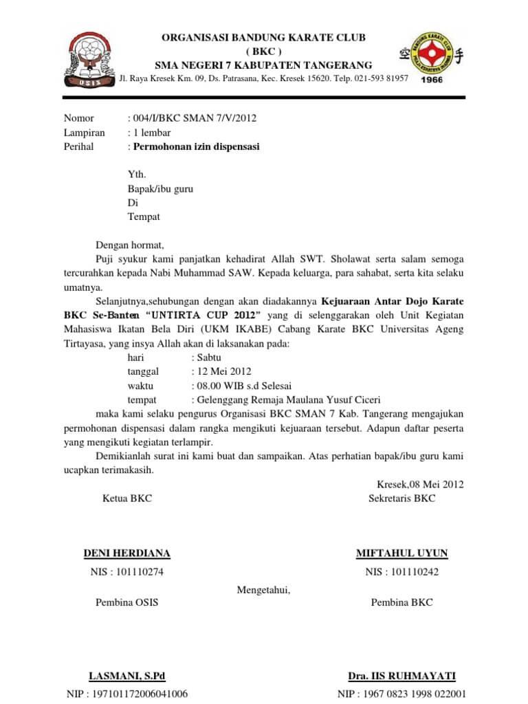 Contoh Surat Dispensasi Atlet