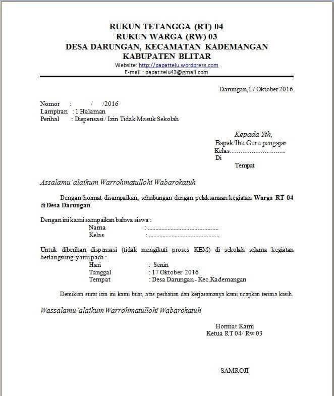 Contoh Surat Dispensasi Dari Ketua RT/RW