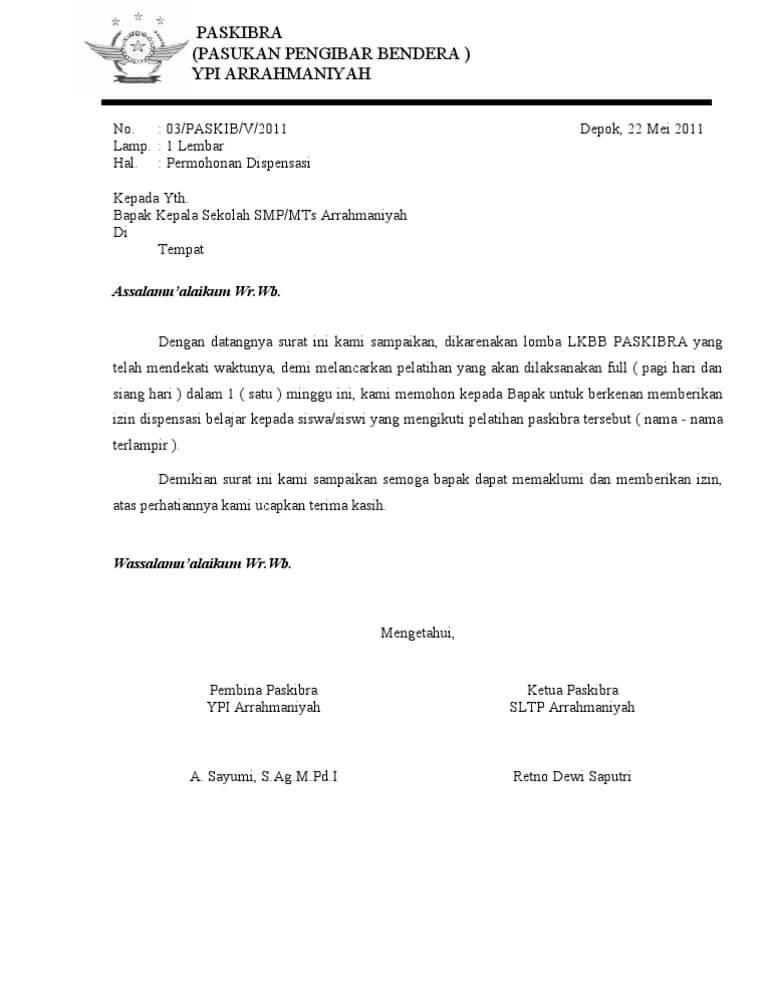 Contoh Surat Dispensasi Paskibra