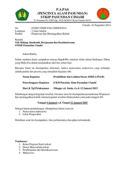 Contoh Surat Dispensasi Sekolah Dari Mapala
