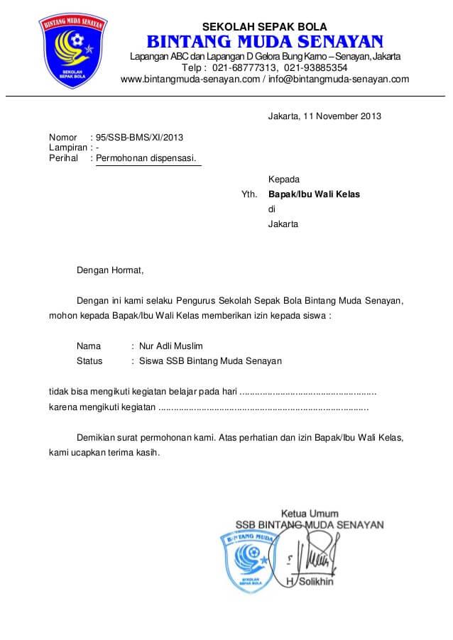 Contoh Surat Dispensasi Sekolah Karena Sepakbola