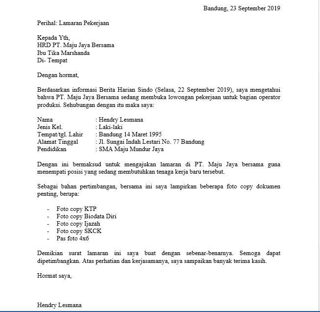 Contoh Surat Lamaran Kerja Sebagai Operator Produksi