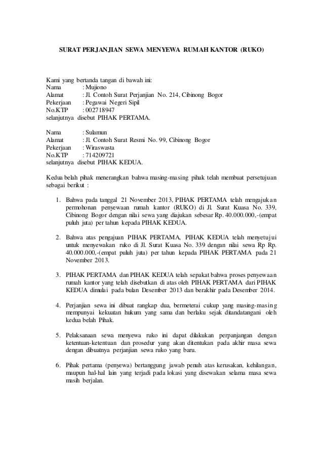 Contoh Surat Perjanjian Kontrak Rumah 1 Tahun Rumah