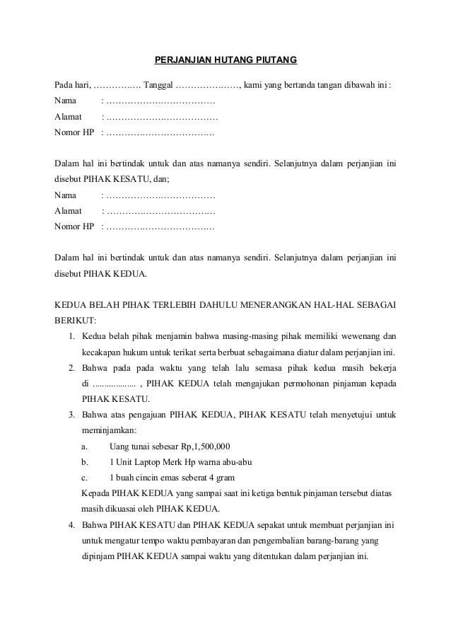 Contoh Surat Perjanjian Hutang Piutang Sederhana Dengan Jaminan Bermaterai Contoh Surat