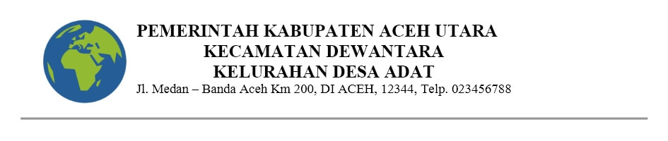 Bentuk Kop Surat Kantor Dinas Resmi Pemerintahan