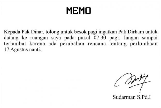 Contoh Memo Singkat