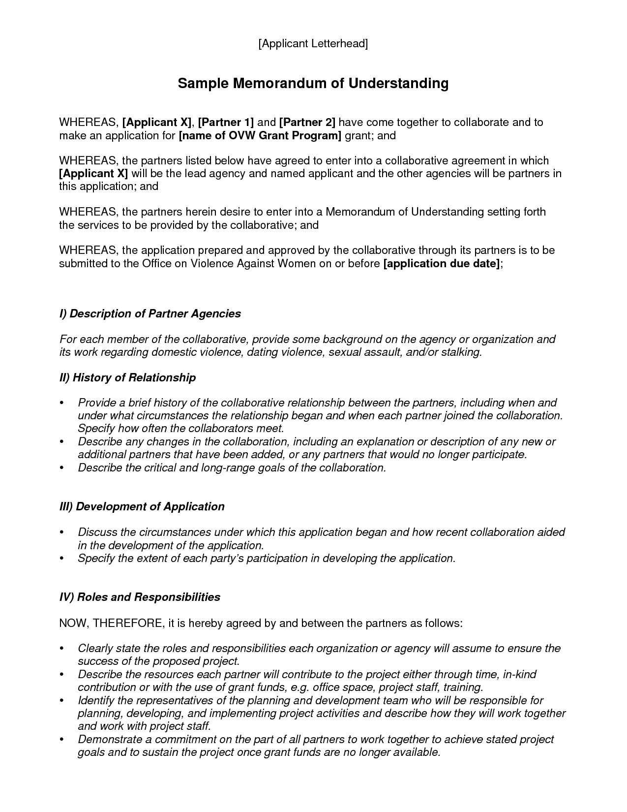 Contoh Memorandum Of Understanding Dalam Bahasa Inggris