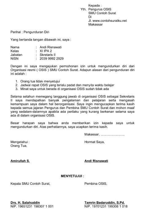 Contoh Surat Pengunduran Diri Dari Organisasi Pencak Silat