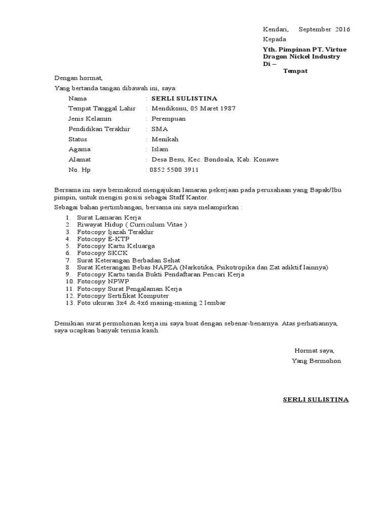 Contoh Surat Lamaran Kerja Di Perusahaan Batu Bara