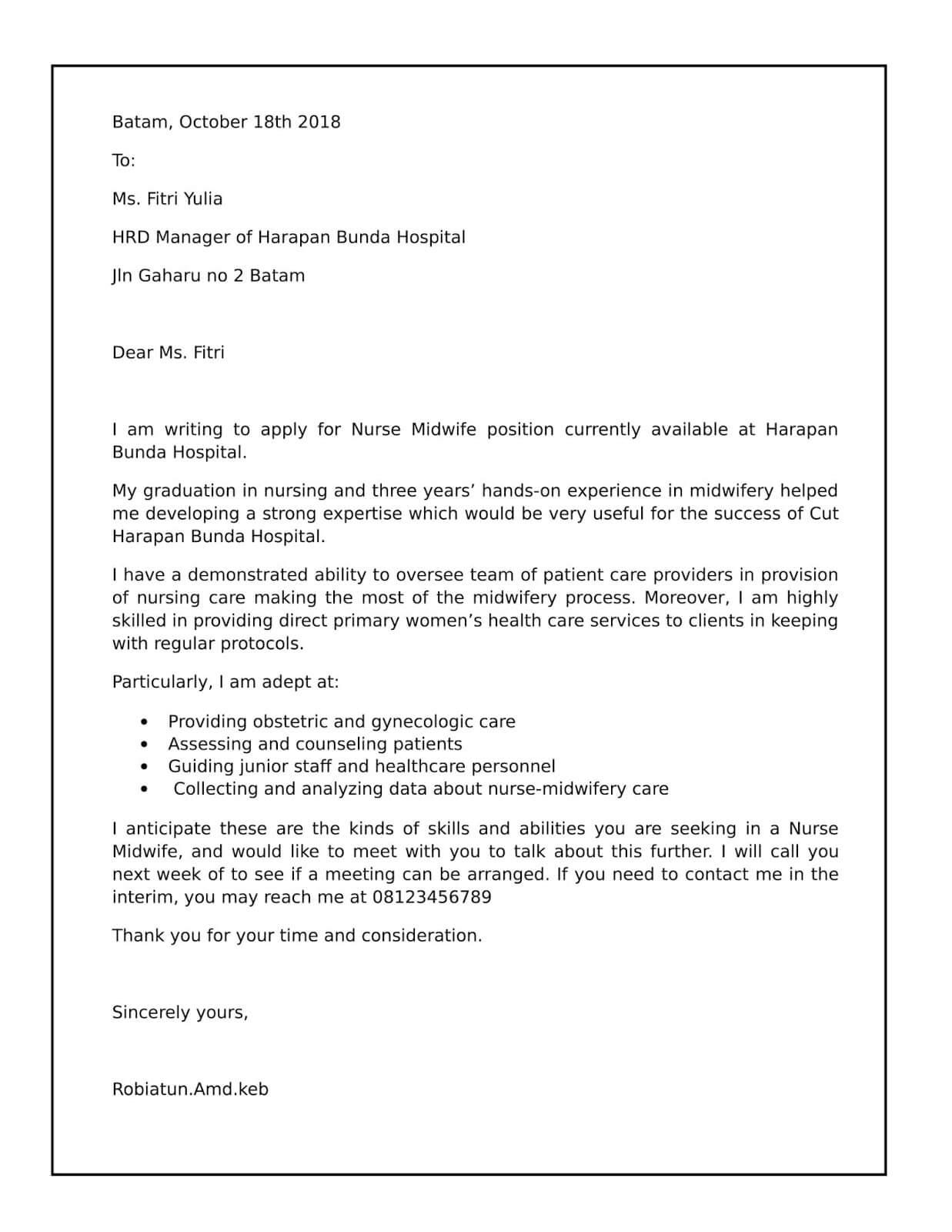 Contoh Surat Lamaran Kerja Bidan Dalam Bahasa Inggris Beserta Artinya