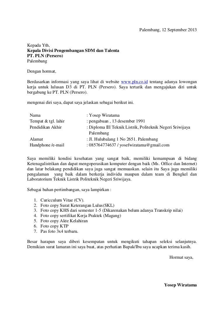Contoh Surat Lamaran Kerja PLN Via Email