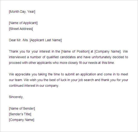 Contoh Surat Penolakan Lamaran Kerja Bahasa Inggris