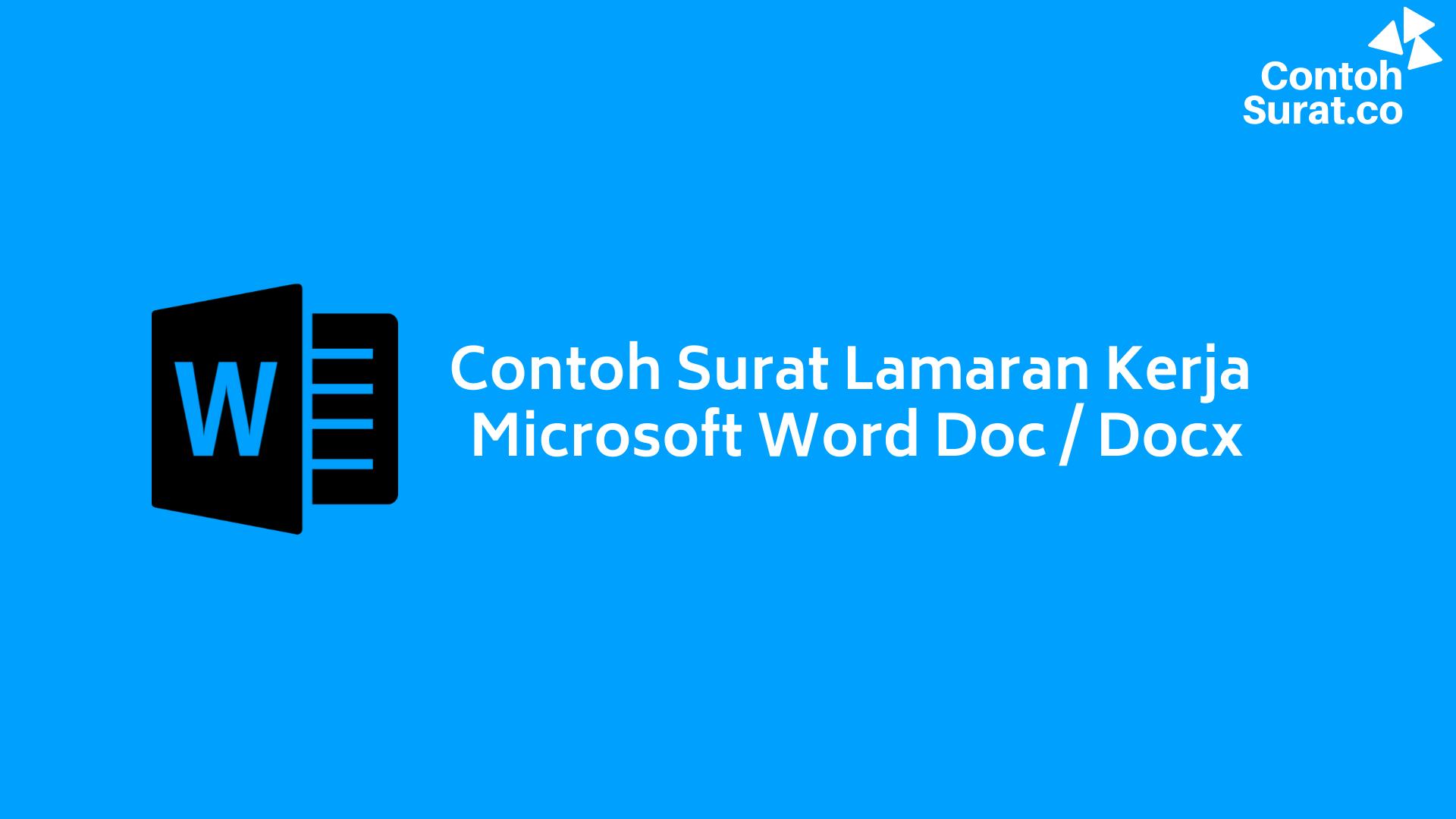Contoh Surat Lamaran Kerja Doc Docx Microsoft Word