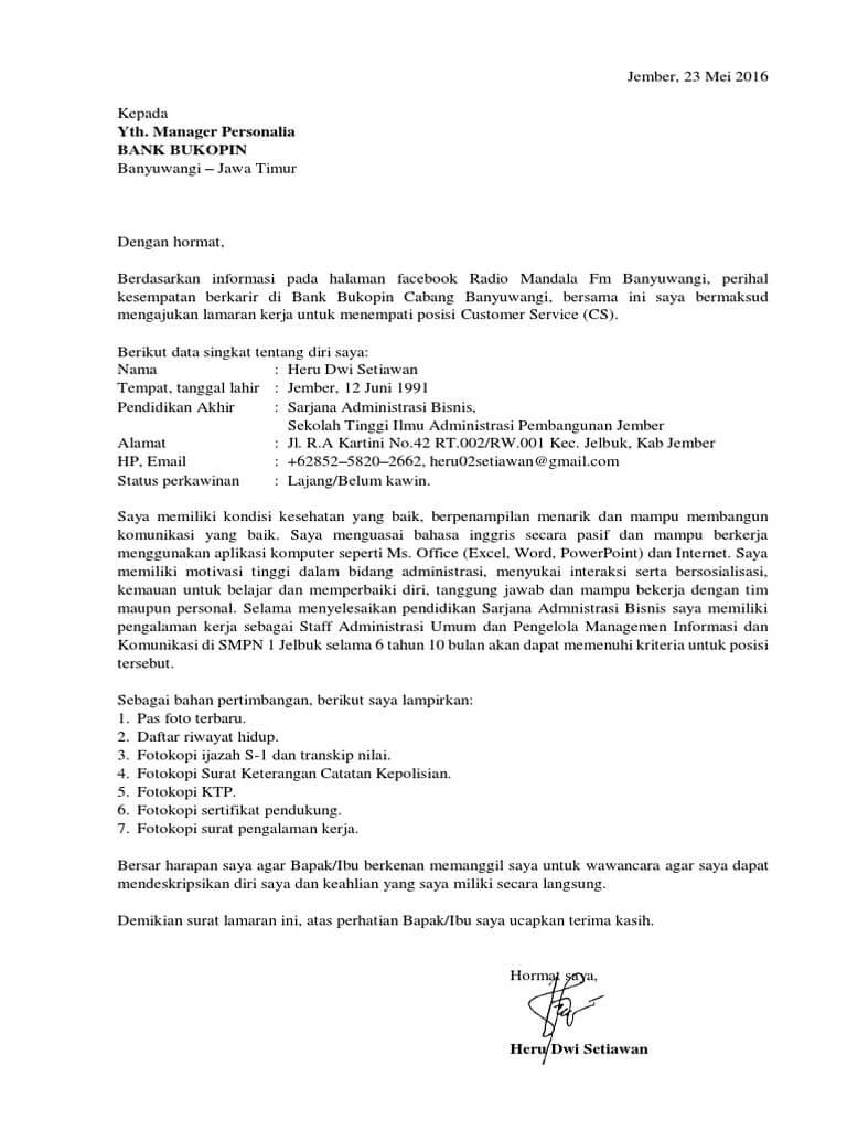 7 Contoh Surat Lamaran Kerja Sebagai Customer Service Contoh Surat