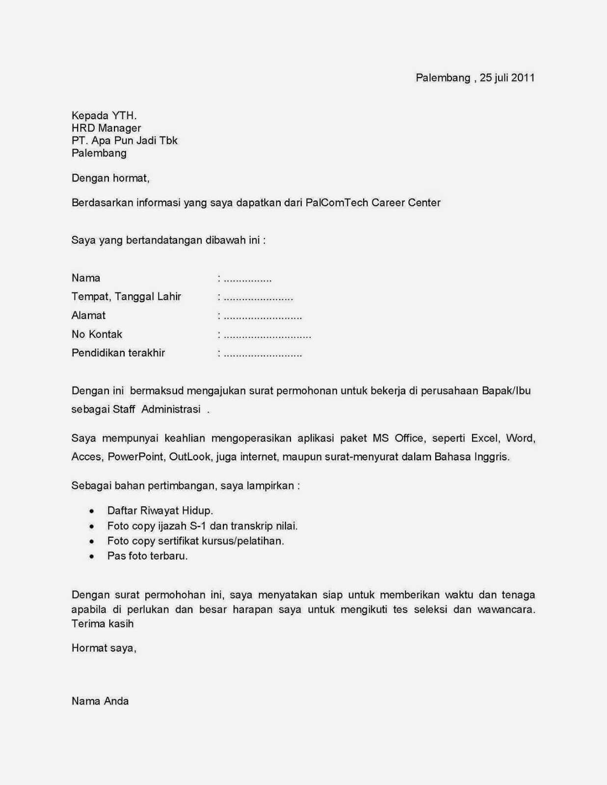 Contoh Surat Lamaran kerja Customer Service di Perusahaan