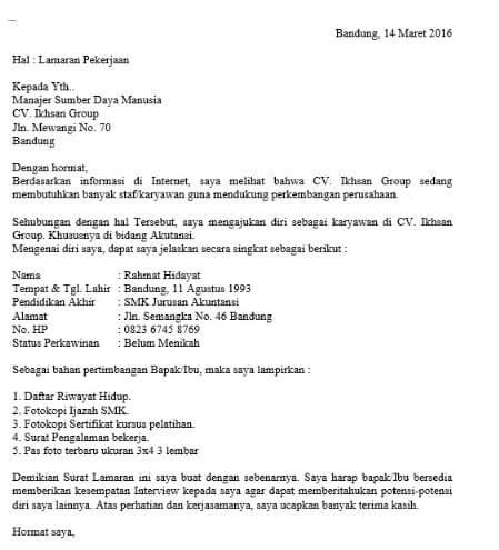 Contoh Surat Lamaran Kerja Simple Sebagai Karyawan