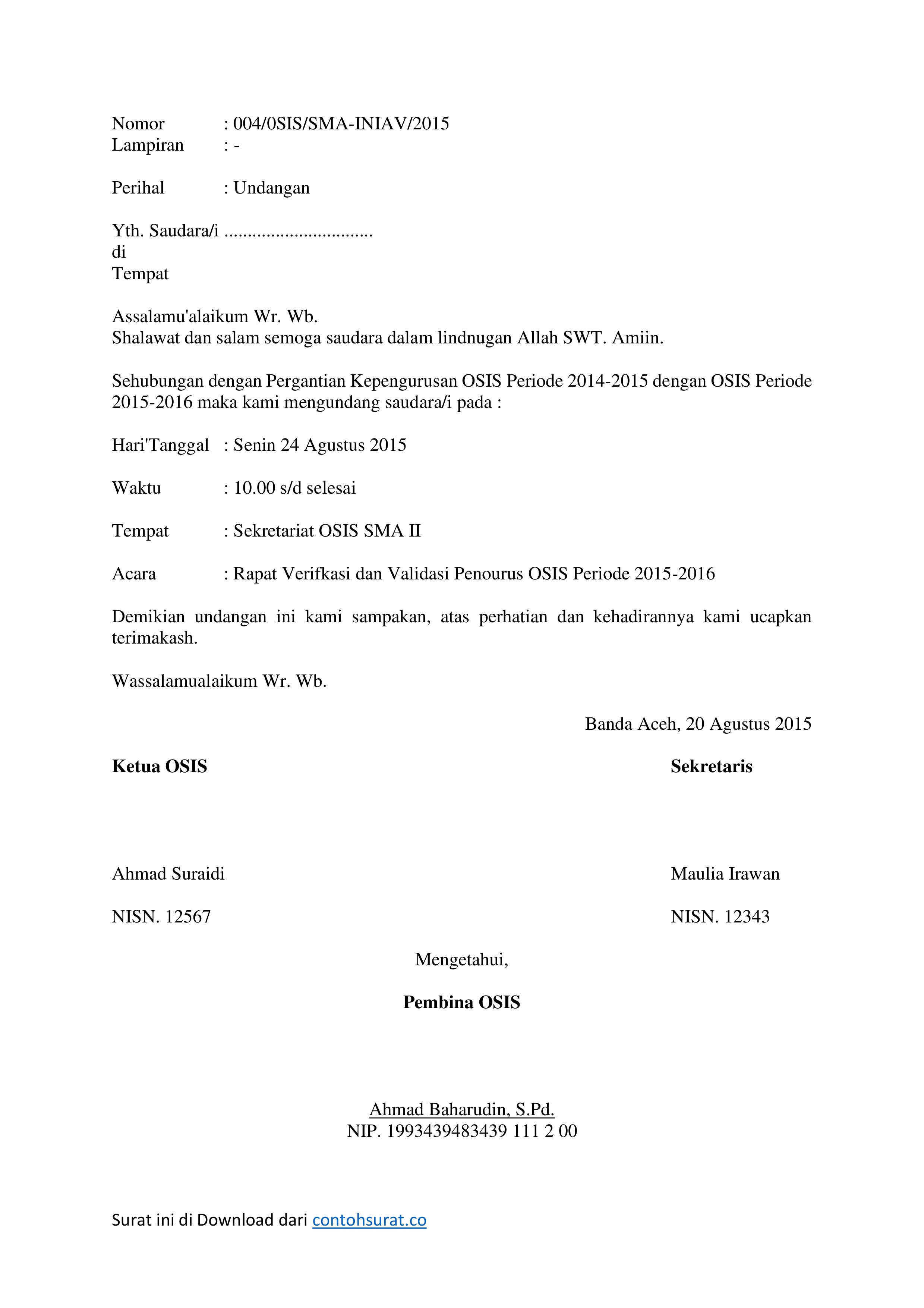 Contoh Surat Undangan Rapat OSIS - Contoh Surat