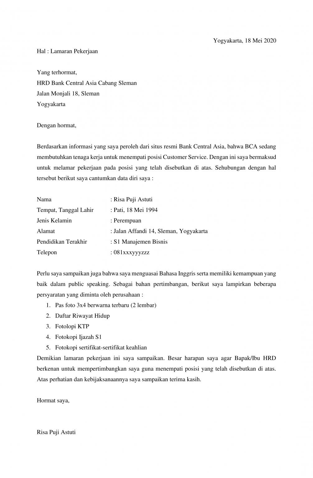 Contoh Surat Lamaran Kerja di Bank BCA - Contoh Surat