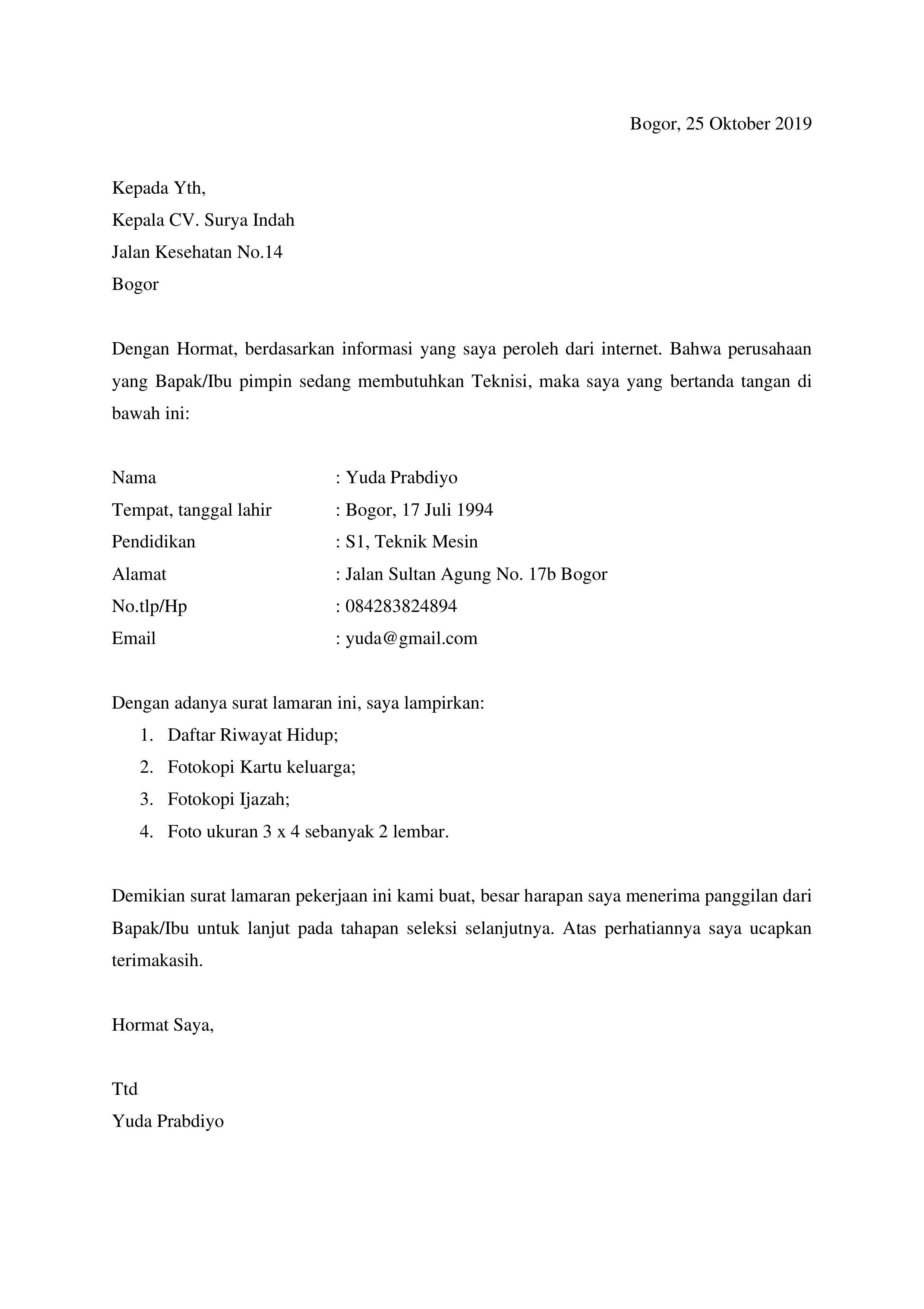 Download Contoh Surat Lamaran Kerja Simple Via Email Contoh Surat